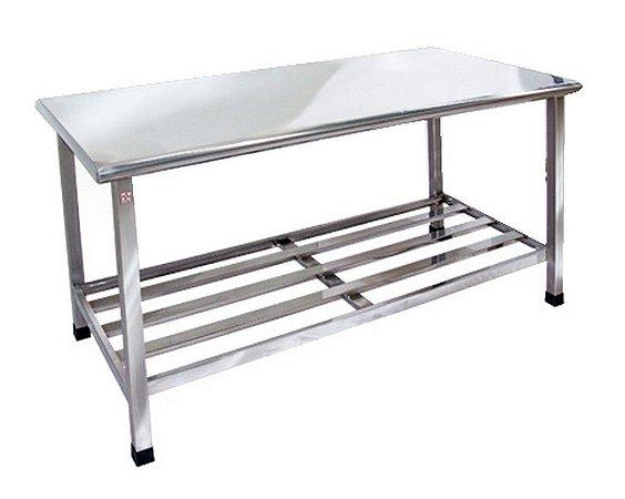Mesa de Inox para Cozinha Industrial Desmontável com Prateleira Gradeada 100x70x85cm Cimapi
