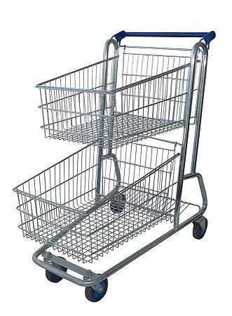 Carrinho de Compras para Supermercado 130 Litros Duplo Amapá