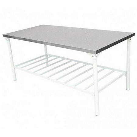 Mesa com Tampo em Inox para Cozinha Industrial Desmontável com Prateleira Gradeada 190x80x70cm Innal