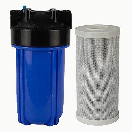 """RC15 - Filtro de Água 10"""" Big Blue Carvão Bloco + Carcaça em Policarbonato Azul 10""""x4.5"""" para Ponto de Uso Purefer"""