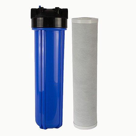 """RC30 - Filtro de Água 20"""" Big Blue Carvão Bloco + Carcaça em Policarbonato Azul 20""""x4.5"""" para Ponto de Uso Purefer"""