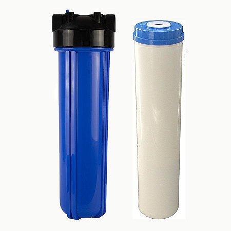 """RD15 - Filtro de Água 20"""" Big Blue Refil OneStop + Carcaça em Policarbonato Azul 20""""x4.5"""" para Ponto de Uso"""