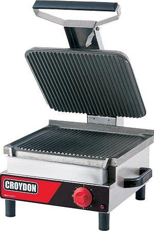 Churrasqueira Grelhador Industrial Elétrica Estriada Croydon Chapa de Ferro  3200W Inox SFSE