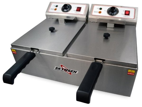 Fritadeira Elétrica Industrial Skymsen 2 Cubas Inox 11 Litros 5000w FED-20-N