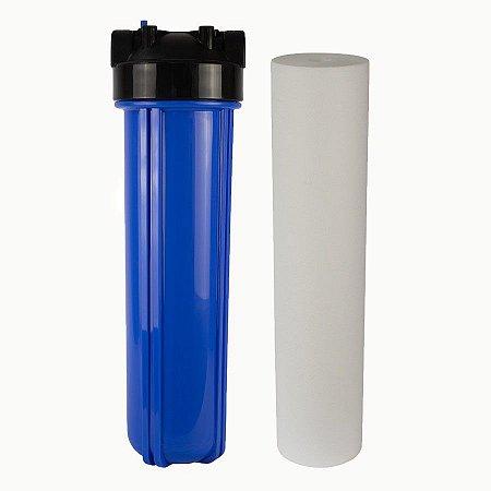 """RS75 - Filtro de Água 20"""" Big Blue Polipropileno + Carcaça em Policarbonato Azul 20""""x4.5"""" para Ponto de Uso Purefer"""