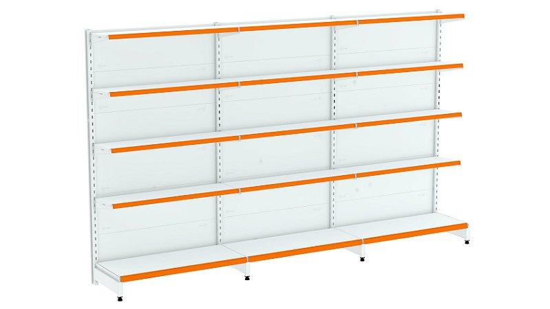 Kit Gôndola de Parede 1,70m Flex 40 com 1 Inicial + 2 Continuações