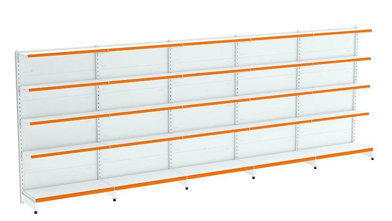 Kit Gôndola de Parede 1,70m Flex 40 com 1 Inicial + 4 Continuações