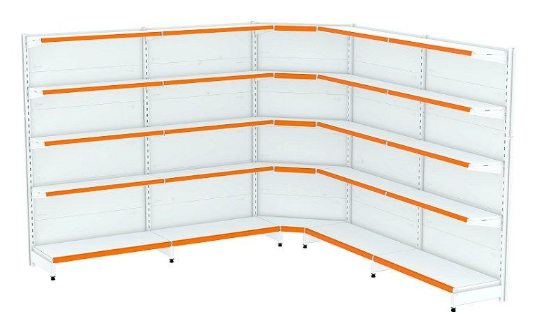Kit Gôndola de Parede 1,70m Flex 40 com 2 Iniciais + 2 Continuações + 1 Canto
