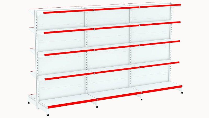 Kit Gôndola de Centro 1,96m Flex 40 com 1 Inicial + 2 Continuações