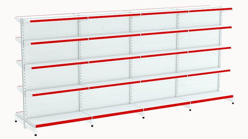 Kit Gôndola de Centro 1,96m Flex 40 com 1 Inicial + 3 Continuações