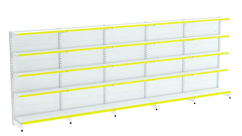 Kit Gôndola de Parede 1,96m Flex 40 com 1 Inicial + 4 Continuações