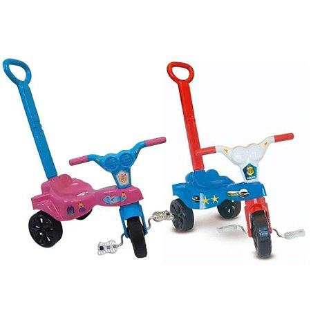 Triciclos Infantil Com Empurrador Azul e Rosa Kepler