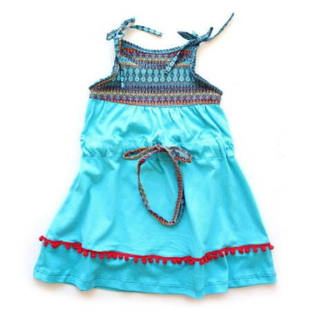 Vestido Longo Peruano Turquesa