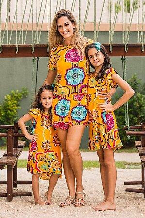 Vestido Laço Trapézio Filha Florear