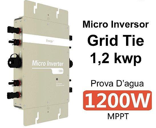 Microinversor Grid Tie 1,2 kWp - (até 4 paineis de 300wp = 1.200Wp) + cabo AC 2m - até 180 kWh/mês