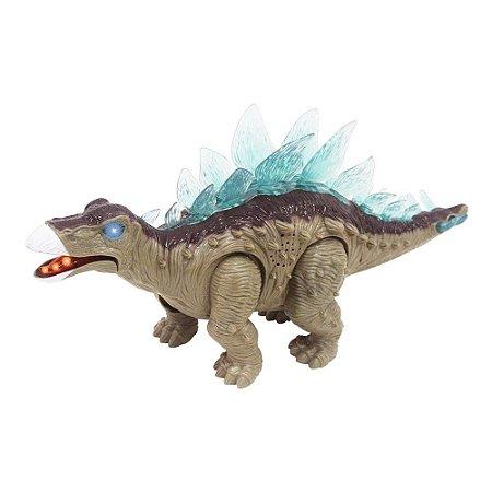 Dinossauro Com Luz Som E Movimento Estegossauro Anda À Pilha Boneco Criança