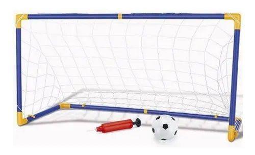Kit 1 Trave C/ Rede Jogo Futebol Grande 118cm + Bola + Bomba Infantil Criança