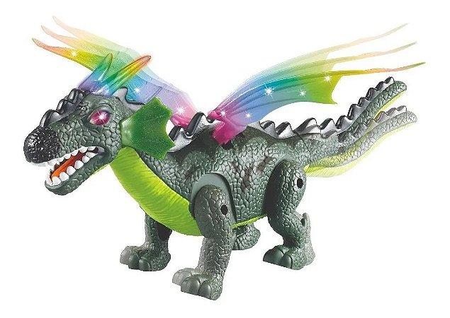 Dinossauro Com Luz Som Anda Movimento A Pilha Dragossauro Brinquedo Boneco