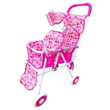 Carrinho De Bebê Para Boneca Gêmeas Dobrável Passeio Capota Brinquedo Infantil Criança