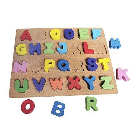 Brinquedo Didático Jogo Educativo Encaixe Letras Alfabeto Aprenda Brincando Em Madeira