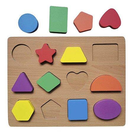 Brinquedo Didático Jogo Educativo Encaixe Formas Geométricas Aprenda Brincando Em Madeira