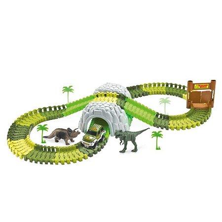 Pista Dinossauro Rex Track Racing C/ Túnel Carrinho 109 Peças Corrida Brinquedo Criança Diversão