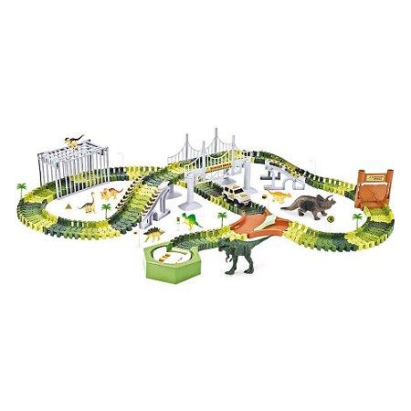Pista Dinossauro Rex Track Racing Com Ponte Carrinho 220 Peças Corrida Brinquedo Criança Diversão