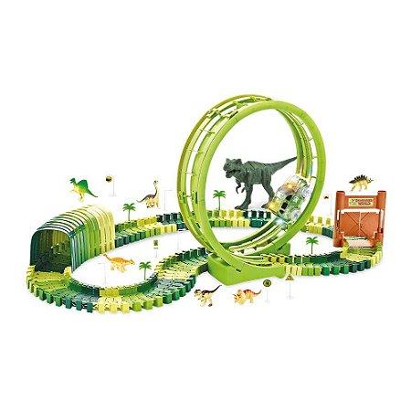 Pista Dinossauro Rex Track Racing Looping Carrinho 119 Peças Corrida Brinquedo Criança Diversão