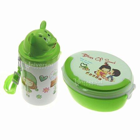 Kit Lancheira Oval E Copinho Verde Infantil Escolar