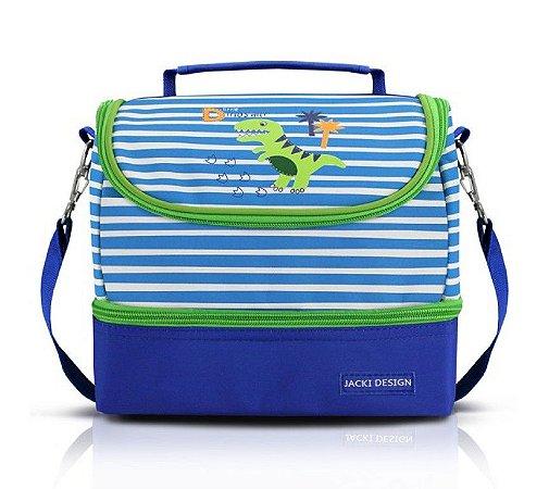 Lancheira Bolsa Térmica Infantil Dinossauro Coqueiro Jacki Design Azul