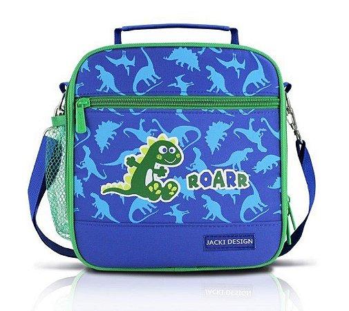 Lancheira Bolsa Térmica Azul Dinossauro Roarr Jacki Design