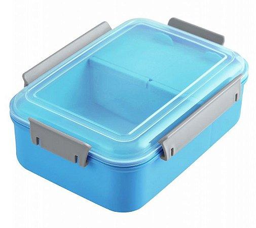 Pote Marmita Lancheira C/ 3 Compartimentos 1200ml Azul