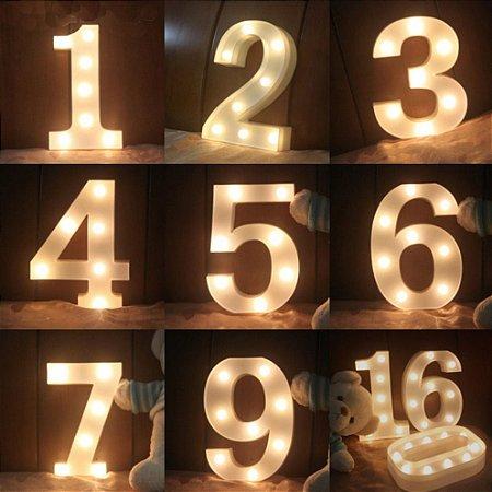 Luminária Numero 3d Led Luminoso Decoração Festa Decorativa