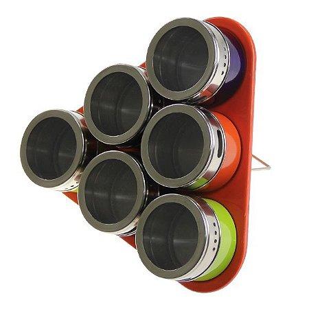 Porta Condimento Tempero Inox Magnético Imã 6 Potes +suporte