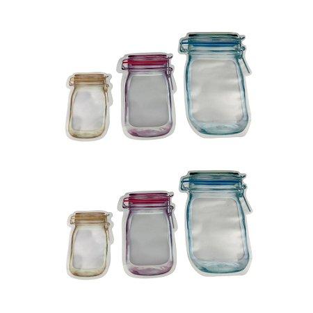 Kit 6 Saco Porta Alimentos Temperos Reutilizável Com Lacre