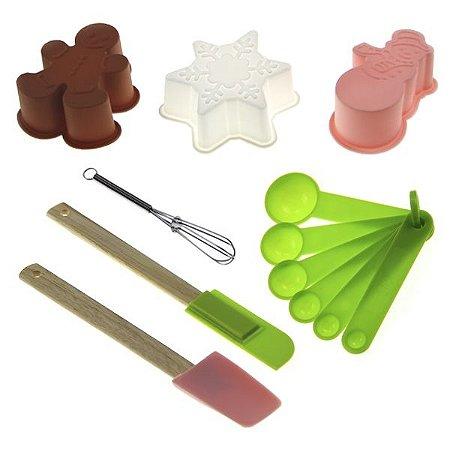 Kit de Cozinha em Silicone c/ 7 Peças - Formas, Medidores, Espátulas e Fouet