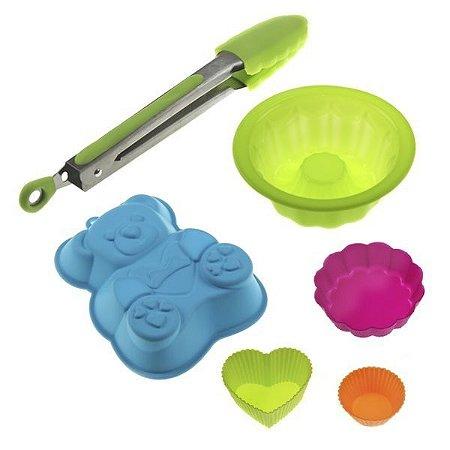 Kit de Cozinha em Silicone c/ 6 Peças - Pegador e Formas Furo no Meio, Urso, Coração e etc.