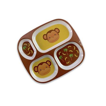 Prato Para Refeição C/ Divisórias Comida Infantil Macaquinho