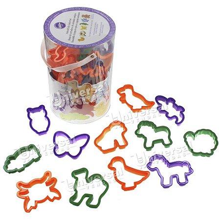 Kit Wilton com 50 Cortadores Plásticos Animais (cachorro, gato, pássaro etc)