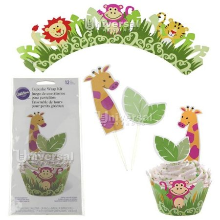 Kit para decorar Cupcake Wilton 12 Saias (Wrap) e 24 Palitos Jungle