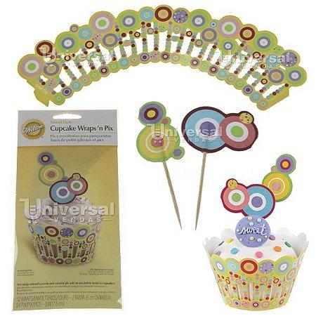 Kit para decorar Cupcake Wilton 12 Saias (Wrap) e 24 Palitos Bolinhas