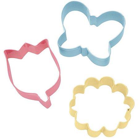 Cortador de Inox p/ Biscoitos Wilton Flor: Rosa, Margarida e Borboleta (Kit com 3 Unids)