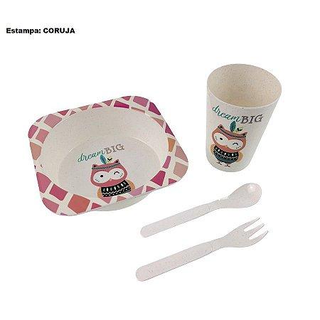 Kit Refeição Papinha Alimentação Infantil Com 4 Pçs Tigela Copo Talheres Diversos Modelos