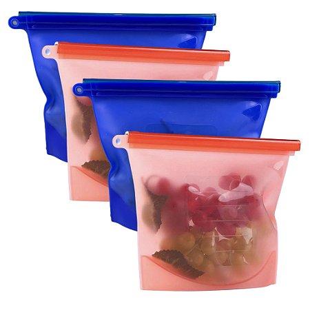 Kit Com 4 Sacos Porta Alimentos Temperos Reutilizável Silicone Bpa Free