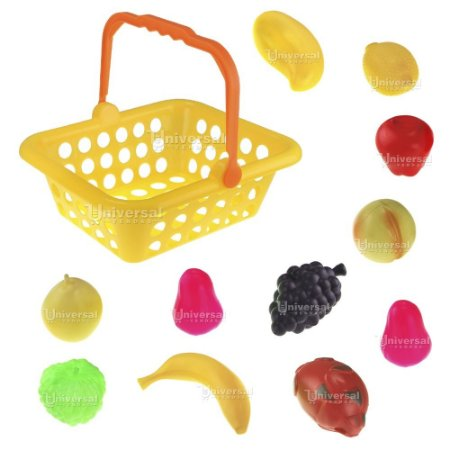 Cesta de Frutas Grande 12 Peças Brinquedo Infantil