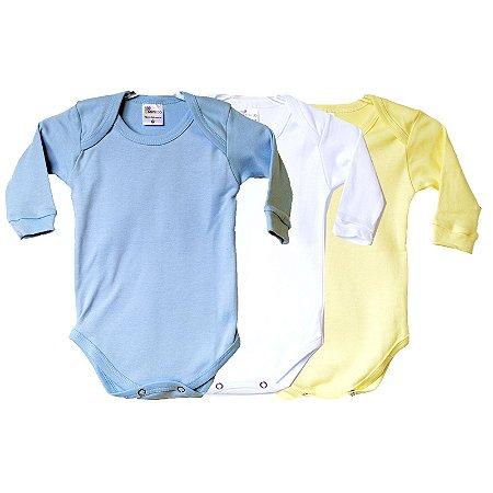 Kit de 3 Bodies Bebê Manga Longa Liso Azul Claro/Branco/Amarelo