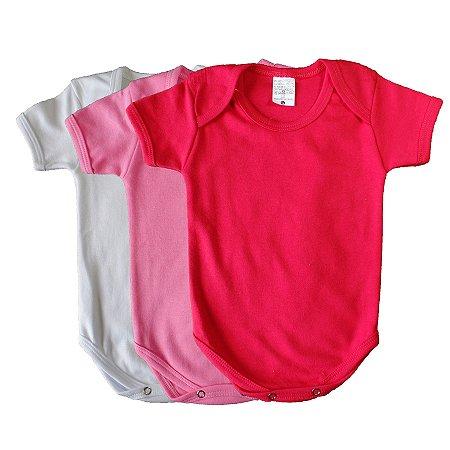 Kit de 3 Bodies Bebê Meia Manga Liso Rosa/Vermelho/Branco