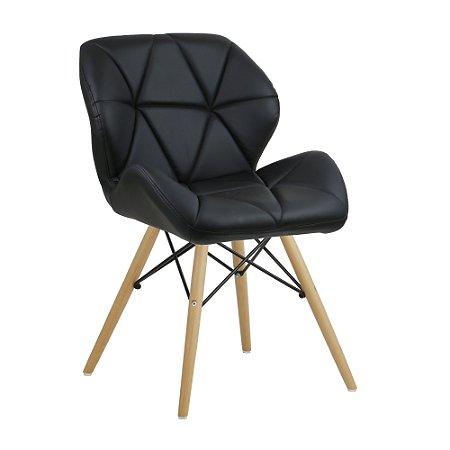 Cadeira Confort Preto Wood em PU