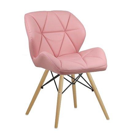 Cadeira Confort Rosa Wood em PU