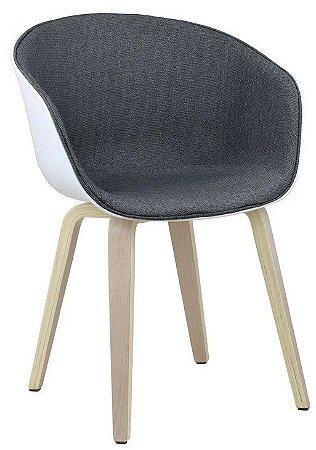 Cadeira Elegance Branco/Cinza Escuro Wood em tecido